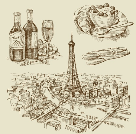 Paris hand drawn Vector