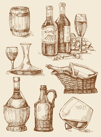 old fashioned menu: wine hand drawn collection