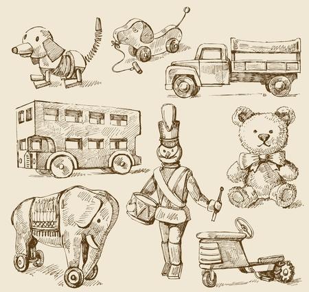 old tractor: antiek speelgoed-originele hand getekende collectie Stock Illustratie