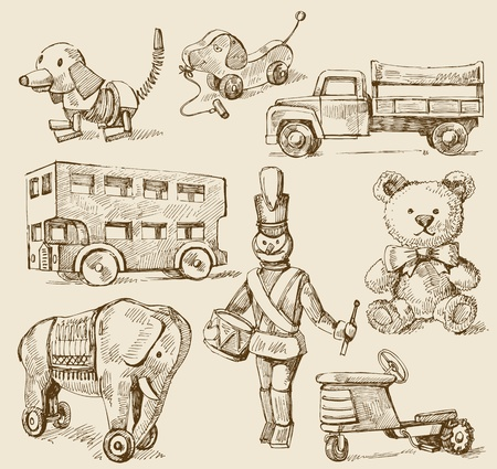 teddy bear: antique toys-original hand drawn collection