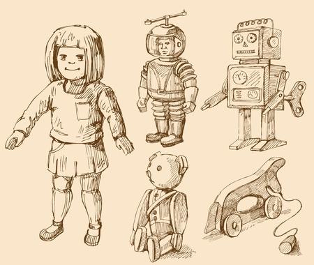 bocetos de personas: antiguos juguetes de colecci�n