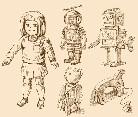 vintage children: antique toys collection Illustration