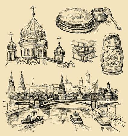 Conjunto de Rusia iconos dibujados a mano