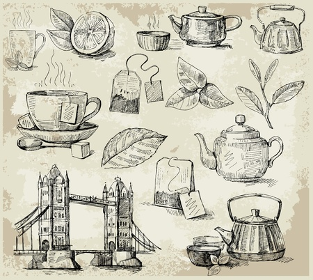 set of tea Vector