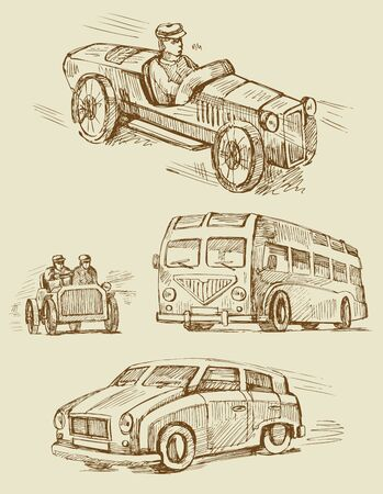 car drawing: set of vintage transport