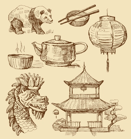 ancient philosophy: Set of China hand-drawn icons