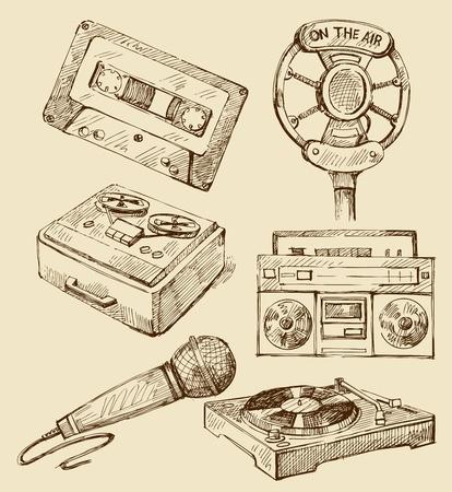 microfono antiguo: Conjunto de m�sica iconos dibujados a mano