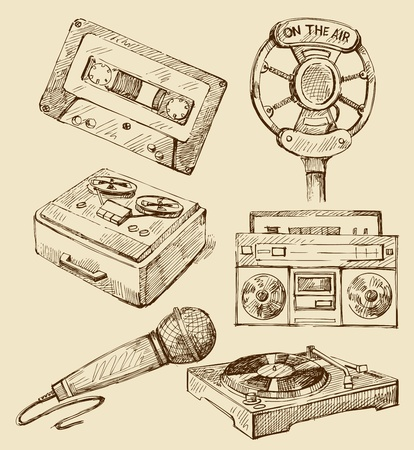 old microphone: Set of music hand-drawn icons
