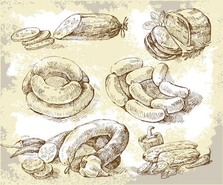saucisson: Collages � base de viande Illustration