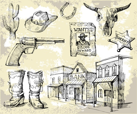 country western: dessin�s � la main wild west ensemble Illustration