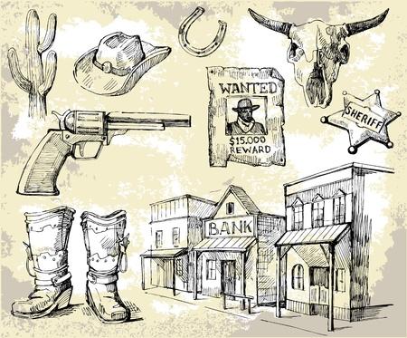 saloon: dibujado a mano salvaje oeste conjunto Vectores