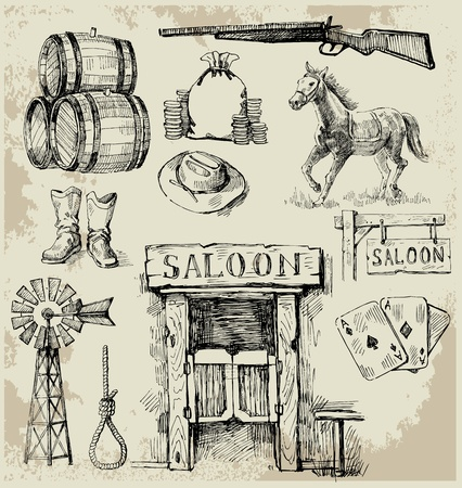 oeste: dibujado a mano salvaje oeste conjunto Vectores