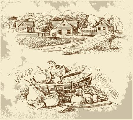 trekken: Dorp huizen schets met voedsel