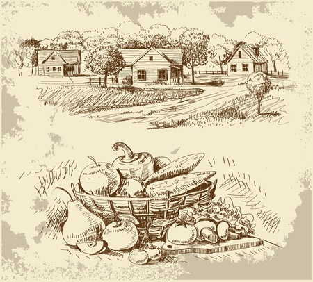 black and white farm: Village houses sketch with food