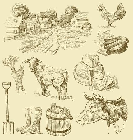 kaas: boerderij collectie-handgemaakte tekening
