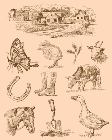 boerderij collectie-handgemaakte tekening