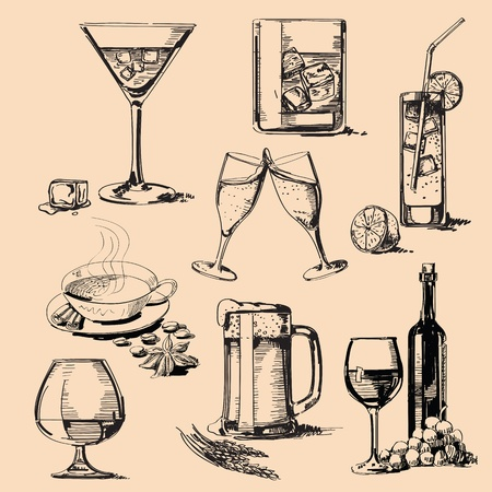 hand drawn: drink stack Illustration