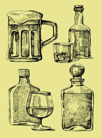 whisky bottle: drink stack Illustration