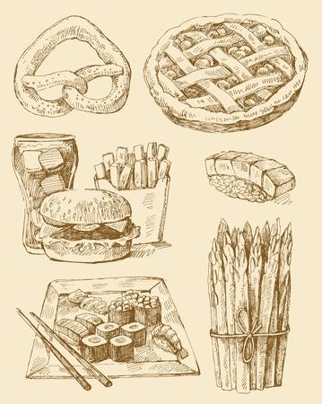 pasteleria francesa: alimentos serie Vectores