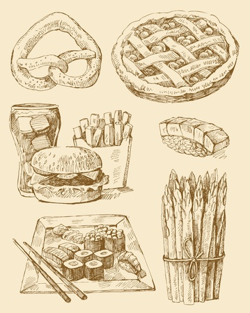 french roll: food set Illustration