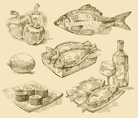 italian sea: vector seafood