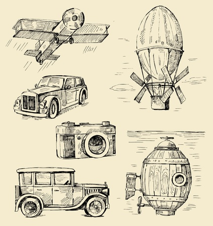 submarino: dibujado a mano - los viejos tiempos