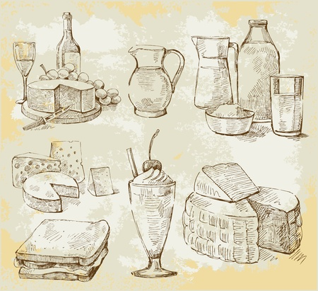 wine and cheese: milk products vector set Illustration