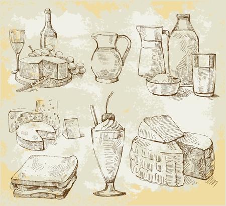 queso: productos de leche conjunto de vectores