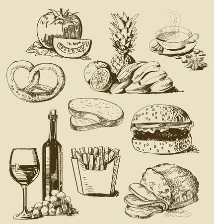 salami: alimentos serie Vectores