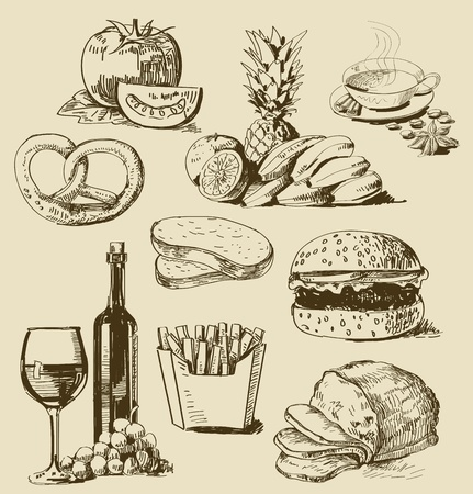 jam sandwich: food set Illustration