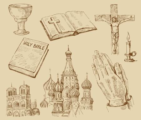 simbolos religiosos: colecci�n de la religi�n, dibujado a mano