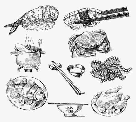日本料理: シームレス パターン手描き