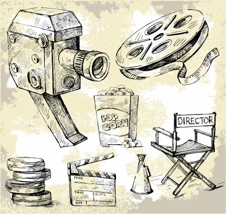 movie clapper: movie camera-disegnati a mano