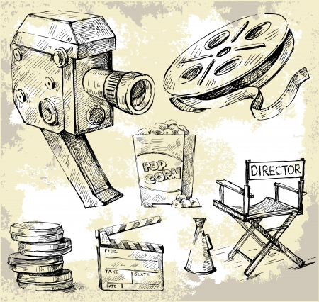 old movies: movie camera-hand drawn