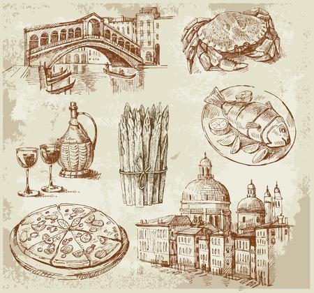 pizza: dibujado a mano conjunto de Venecia