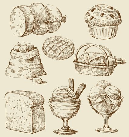 clip art draw: food set Illustration