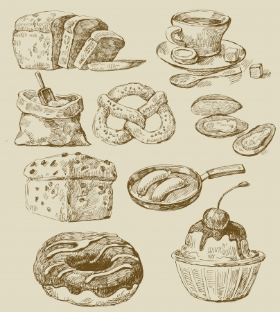 retro kitchen: food set Illustration