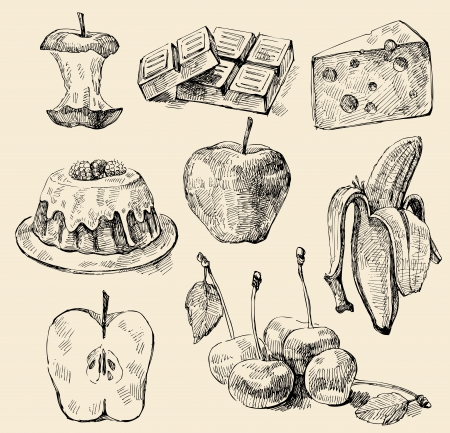 old hand: meal set Illustration