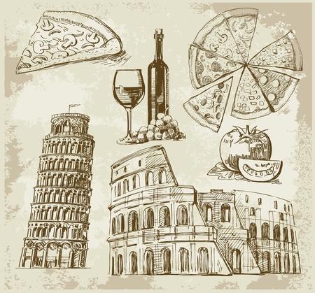 restaurante italiano: dibujado a mano conjunto de Roma Vectores