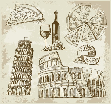 italian pizza: hand drawn Rome set Illustration
