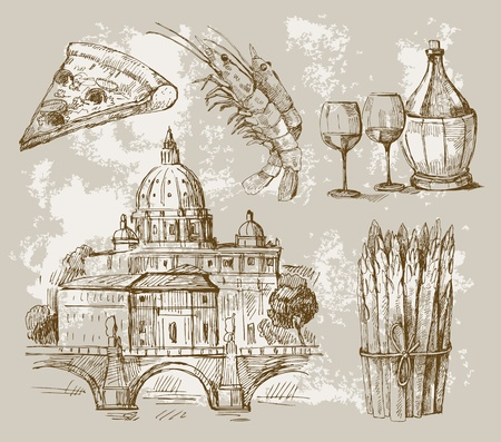hand drawn of Rome Vector