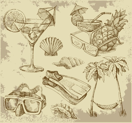 sea shells on beach: summer lounge doodles