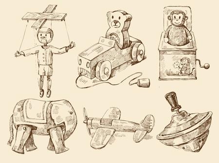 juguetes antiguos: colección de juguetes antiguos dibujados a mano Vectores