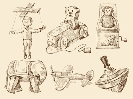 toy shop: collezione disegnata a mano i giocattoli d'epoca Vettoriali