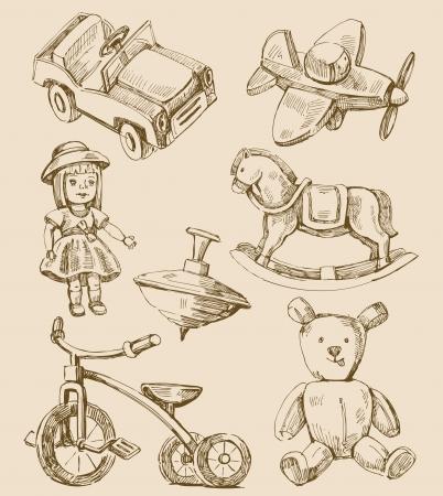 muneca vintage: dibujado a mano juguetes colecci�n vintage Vectores