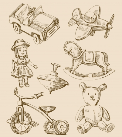 hand drawn vintage toys collection Vector