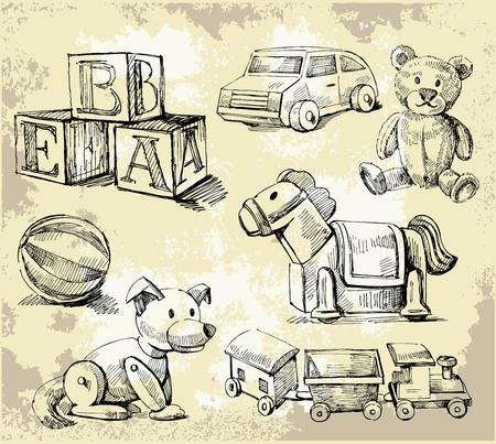 juguetes antiguos: dibujados a mano juguetes Vectores