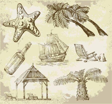 summer travel doodles Vector
