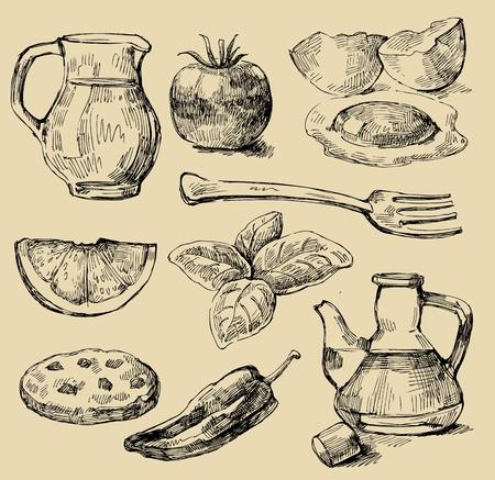 milk and cookies: food set Illustration