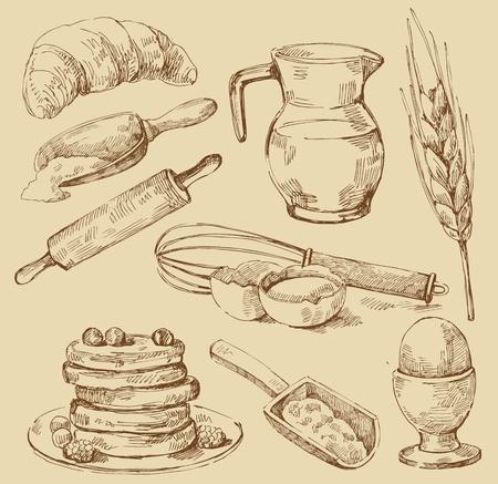 harina: alimentos serie Vectores